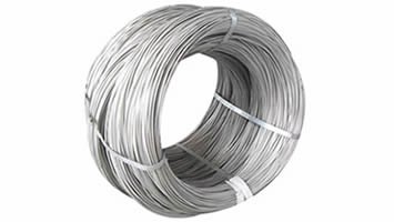 A coil of galvanized high carbon steel wires tied by four metal straps.