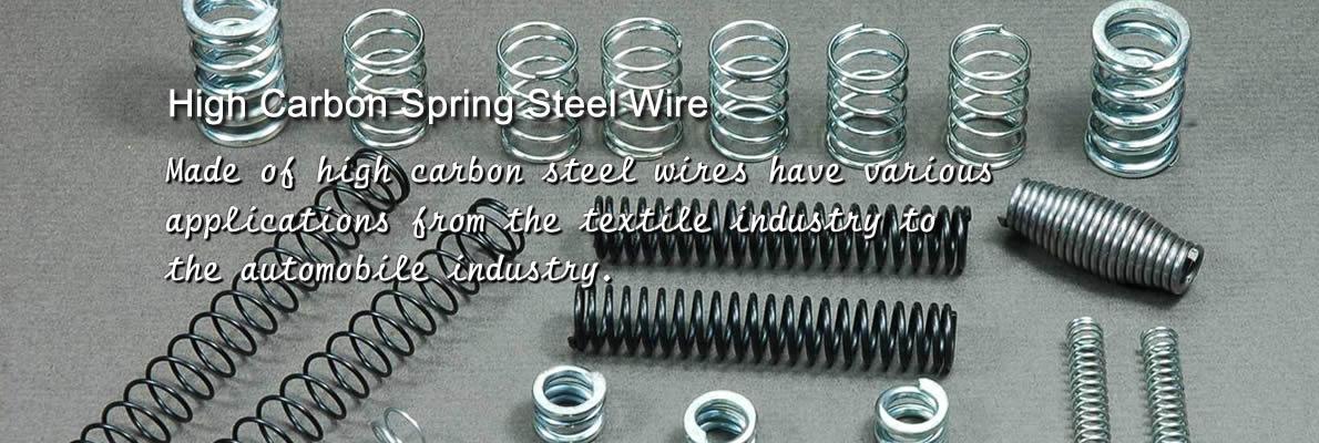 Various kinds and sizes of high carbon steel springs with black, bright or zinc-coated surface on the floor.